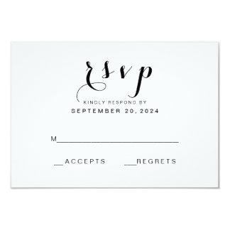 Simple Elegant Script   Modern Wedding RSVP Card