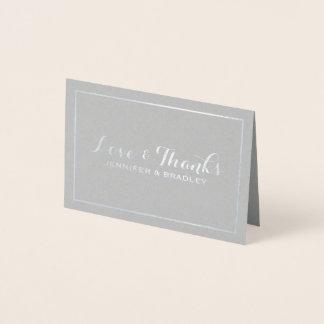 Simple Elegant Silve Foil Border Wedding Thank you Foil Card