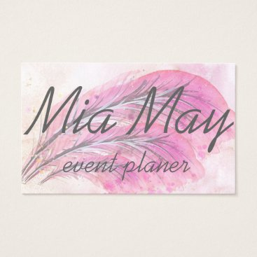 Simple, Elegant, Stylish, Light rose, Feathers Business Card