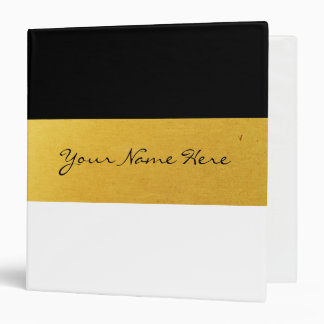 Simple Elegant Stylish White Black & Gold Stripes Binder
