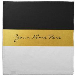 Simple Elegant Stylish White Black & Gold Stripes Cloth Napkin