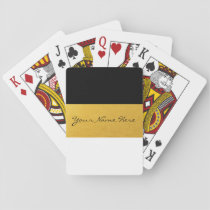 Simple Elegant Stylish White Black & Gold Stripes Playing Cards