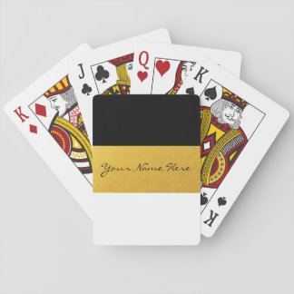 Simple Elegant Stylish White Black & Gold Stripes Playing Cards