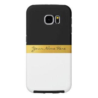 Simple Elegant Stylish White Black & Gold Stripes Samsung Galaxy S6 Case