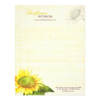 Simple Elegant Sunflower Business Letterheads Letterhead