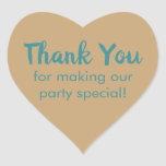 Simple Elegant Teal On Light Brown Thank You Heart Sticker
