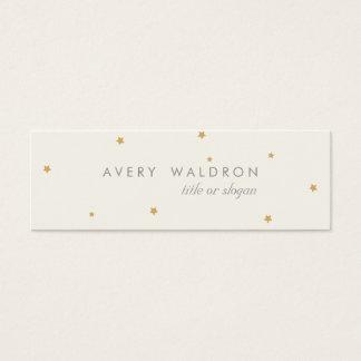 Simple Elegant Tiny Gold Stars Cream White Mini Business Card
