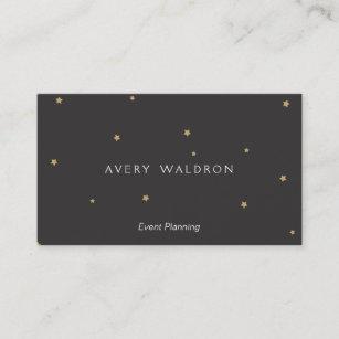 Tiny business cards templates zazzle simple elegant tiny gold stars event planner black business card colourmoves