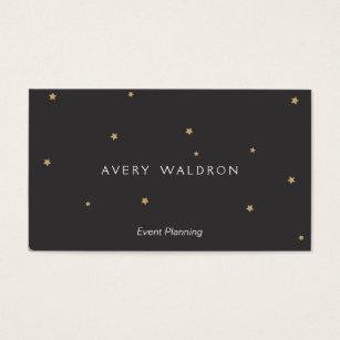 Simple Elegant Tiny Gold Stars Event Planner Black Business Card