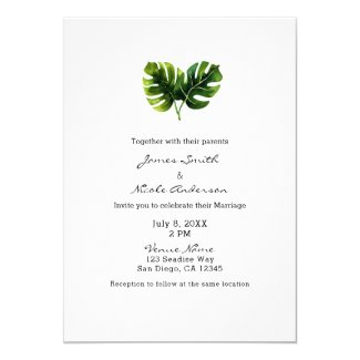 Simple Elegant Tropical Palm Leaves Wedding Chic Invitation