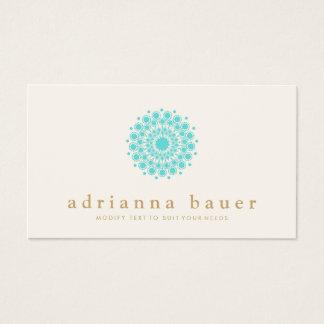 Simple Elegant Turquoise Blue Mandala Business Card