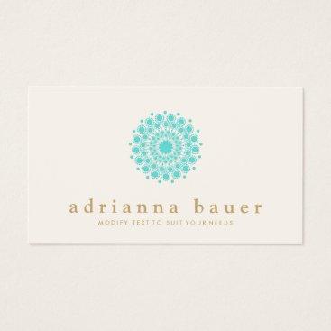 sm_business_cards Simple Elegant Turquoise Blue Mandala Business Card