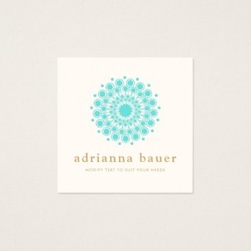 sm_business_cards Simple Elegant Turquoise Blue Mandala Square Business Card