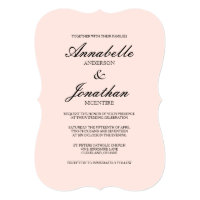Simple Elegant Typography Blush Wedding Invitation