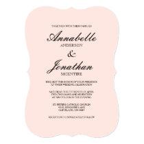 Simple Elegant Typography Blush Wedding Invitation