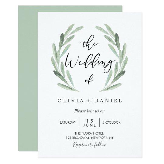Simple Wedding Invitations: Simple Elegant Watercolor Wreath Greenery Wedding