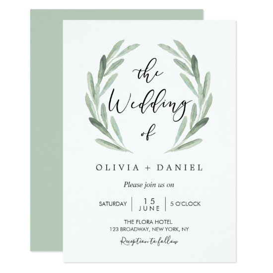 Simple Elegant Watercolor Wreath Greenery Wedding Invitation