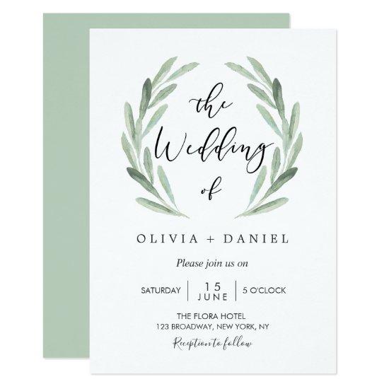 Simple Elegant Watercolor Wreath Greenery Wedding Invitation