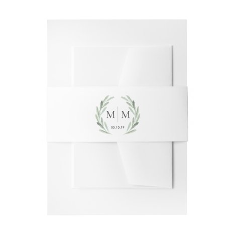 Simple Elegant Watercolor Wreath Greenery Wedding Invitation Belly Band
