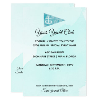 Simple Elegant Watercolor Yacht Club or Event Card