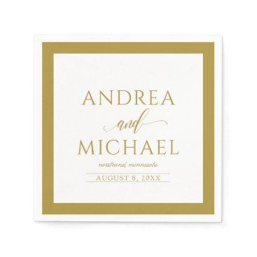 Wedding Themed Simple & Elegant Wedding Cocktail Napkins (Gold)