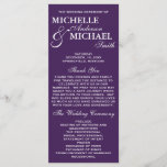 """Simple Elegant Wedding Program<br><div class=""""desc"""">This simple,  beautiful and elegant Wedding Program will coordinate with any wedding theme.  This program is available in white and purple and many more colors.  Please visit our shop for matching stationery and more color options!</div>"""