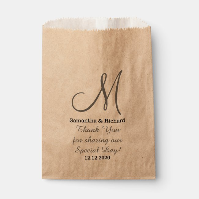 Simple Elegant Wedding Thank you Monogrammed