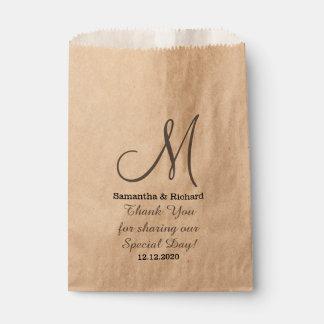Simple Elegant Wedding Thank you Monogrammed Favor Bags