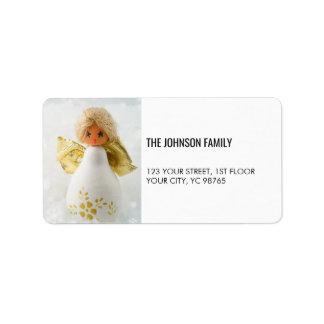 Simple Elegant White Angel Holiday Label