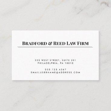 Simple Elegant White Black Professional Attorney Business Card