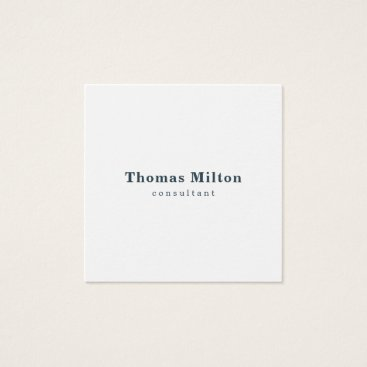 Lawyer Themed Simple Elegant White Blue Consultant Square Business Card