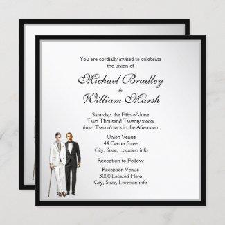 Simple Elegant White Gay Wedding Invite