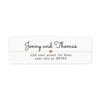 Simple Elegant White Gold Heart Line Wedding Label