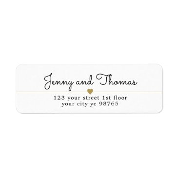 Valentines Themed Simple Elegant White Gold Heart Line Wedding Label