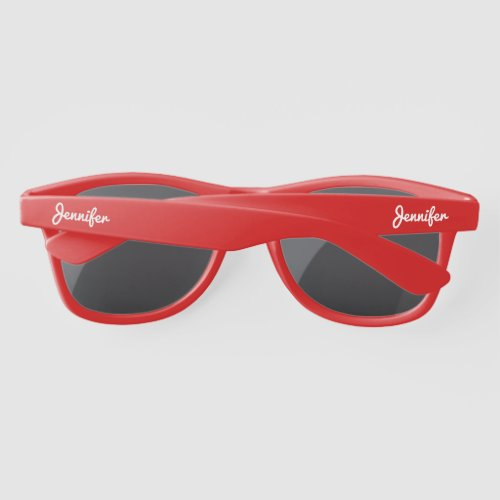 Simple Elegant White Personalized Name Custom Sunglasses
