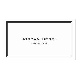 Simple Elegant White Professional & Black Border Business Card