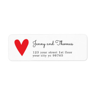 Simple Elegant White Red Heart Wedding Label