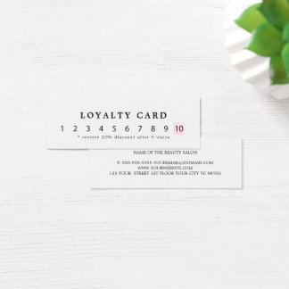 Simple Elegant White Rose Beauty Loyalty Mini Business Card
