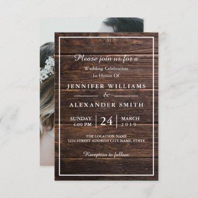 Simple Elegant Woodsy Photo Wedding Invitation