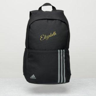 Simple Elegant Yellow Script Name Adidas Backpack