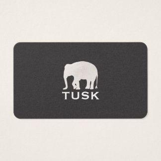 Simple Elephant Black Business Card