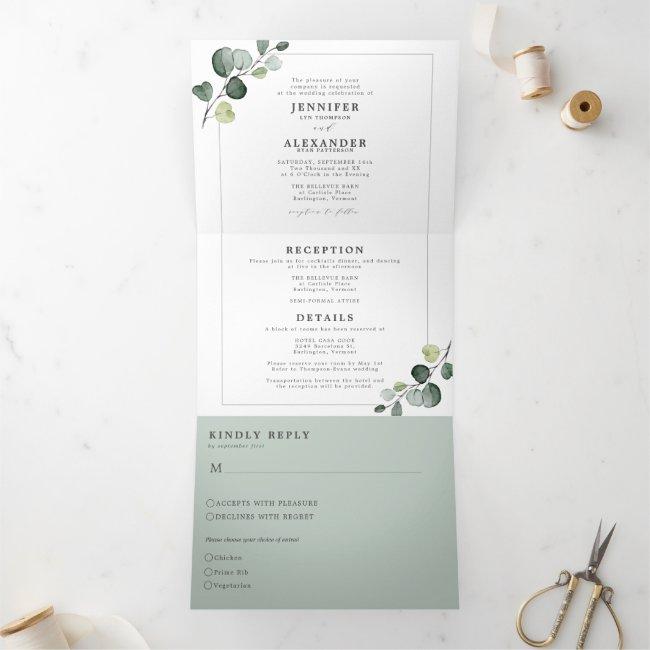 Simple Eucalyptus Greenery All in one Wedding Tri-Fold Invitation