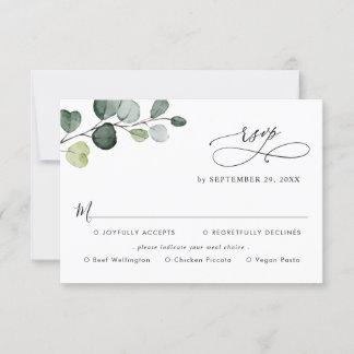 Simple Eucalyptus Greenery Meal Options RSVP Card