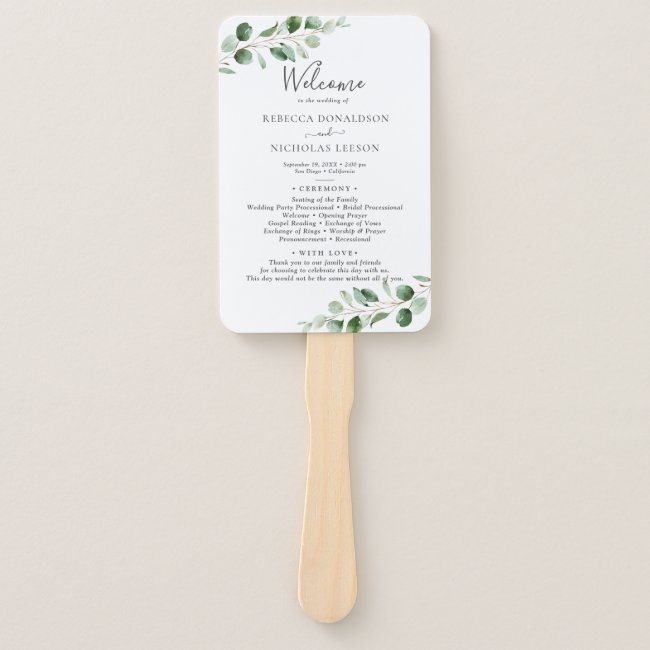 Simple Eucalyptus Greenery Wedding Program Hand Fan