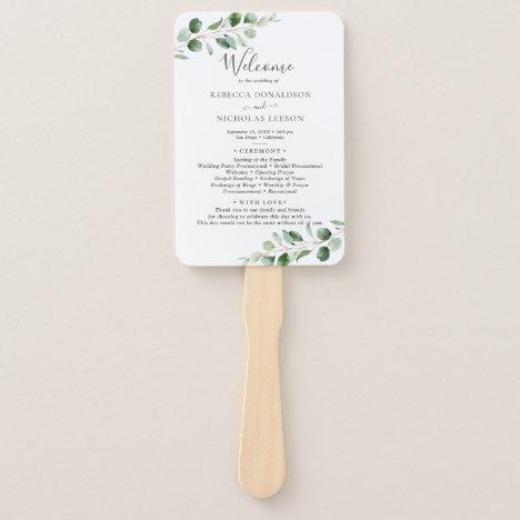 Simple Eucalyptus Greenery Wedding Program Hand Fan