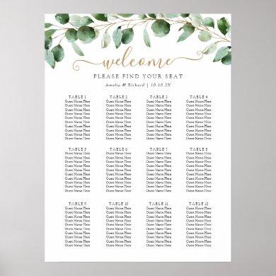 Simple Eucalyptus Greenery Wedding Seating Chart