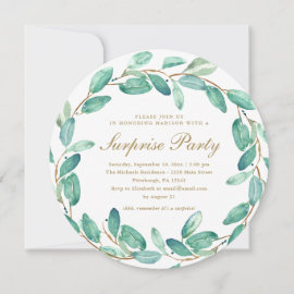 Simple Eucalyptus Leaves Surprise Party Invitation