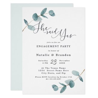 Simple Eucalyptus She Said Yes Engagement Party Invitation