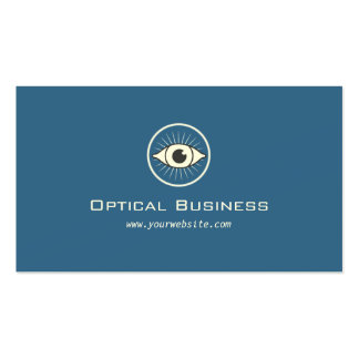 Simple Eye Icon Vintage Blue Optical Business Card