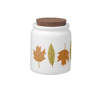 Simple Fall Leaves Ceramic Candy Jar